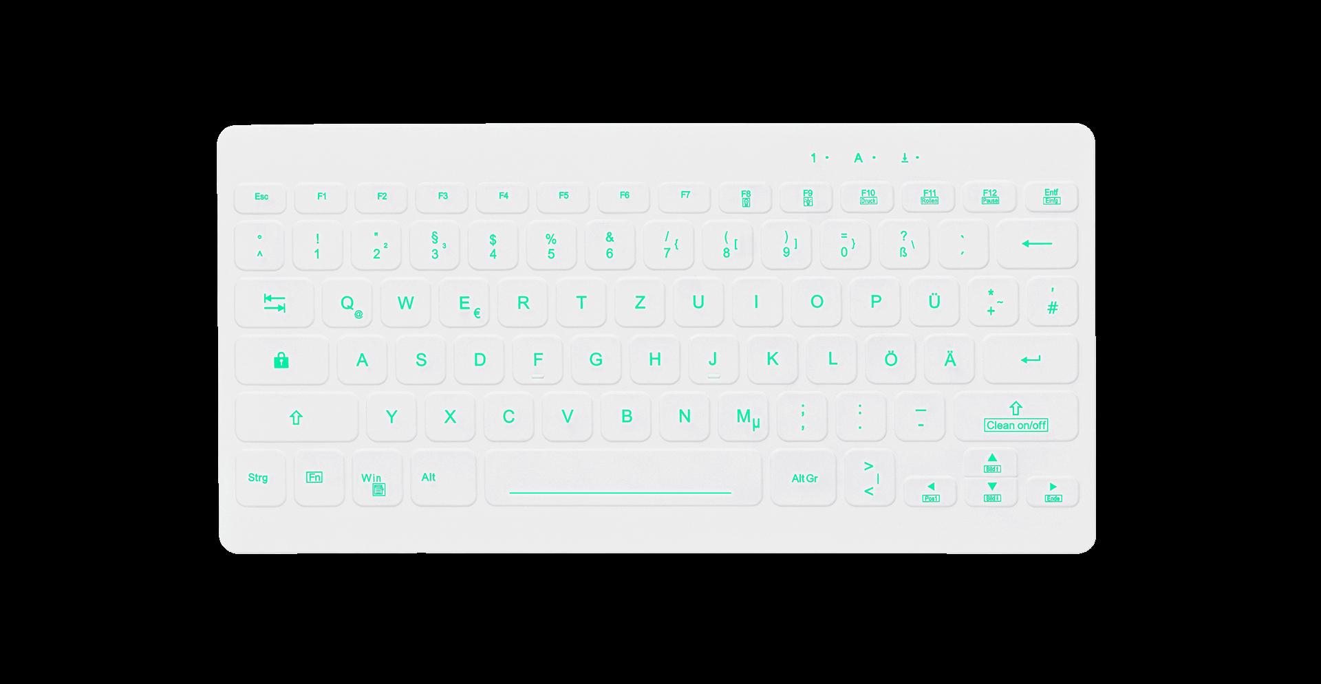 Geschützte Backlit-Tastatur AK-CB4112, Weiß, Deutsch, beleuchtet